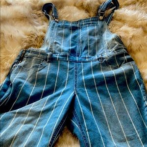 Pinstriped jean overalls